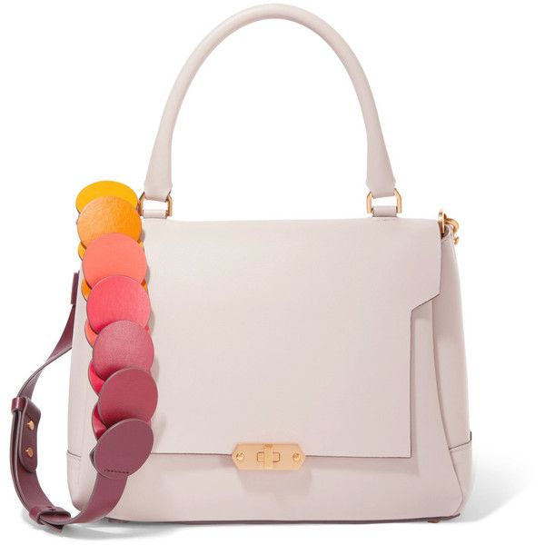 Anya Hindmarch Bathurst small leather shoulder bag ($898) ❤ liked on Polyvore featuring bags, handbags, shoulder bags, pastel pink, pink shoulder bag, laser-cut handbags, pink leather purse, leather pouch and pastel pink purse