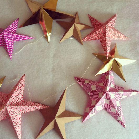 Star Garland Paper Christmas Decorations Diy Christmas Star Star Garland Diy