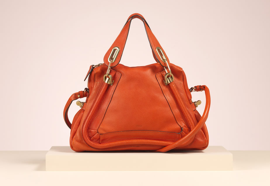 "Chloe ""Paraty"" medium shoulder bag in orange mecanic grained calfskin"