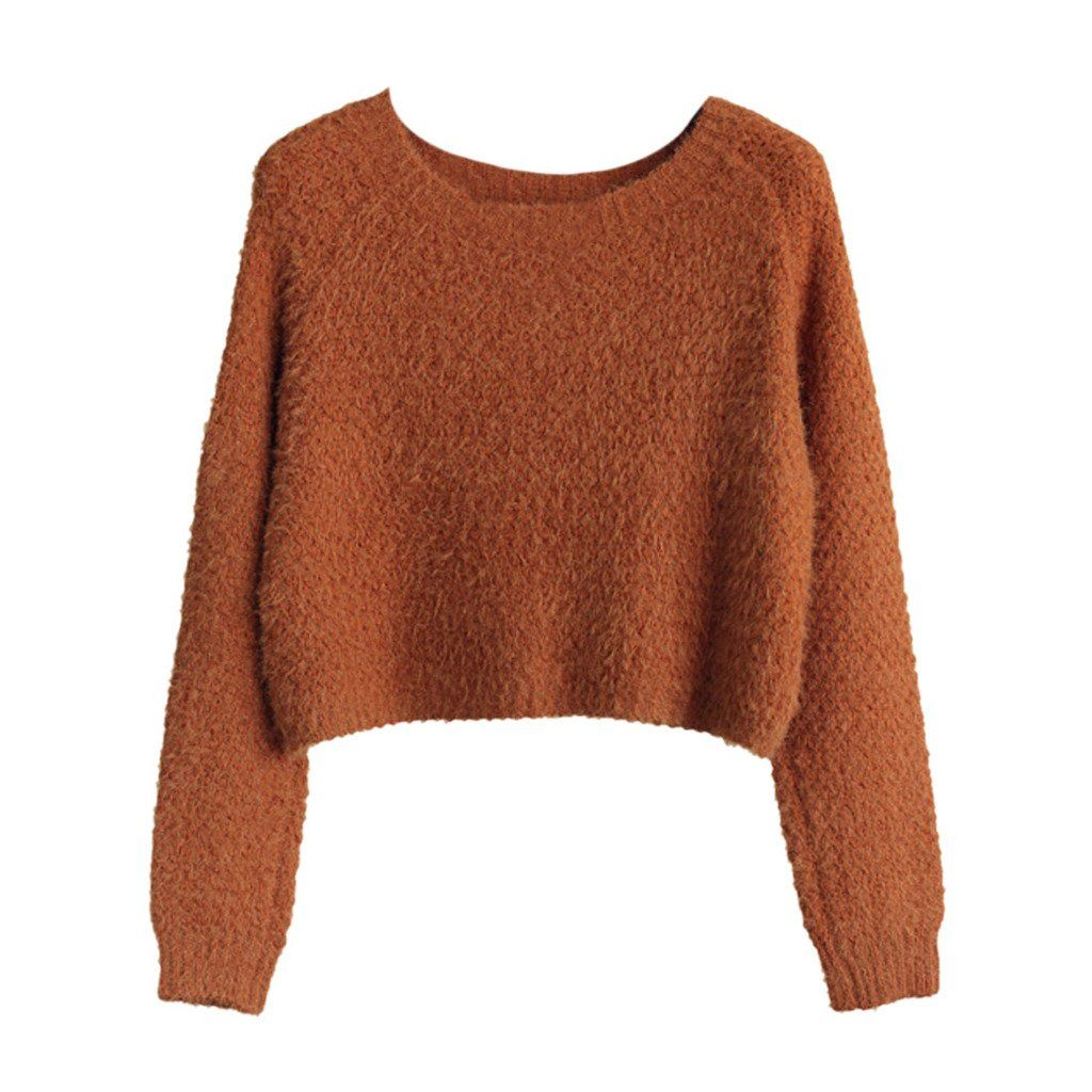 EGELBEL Women's Long Sleeve Crewneck Mohair Crop Top Sweater ...
