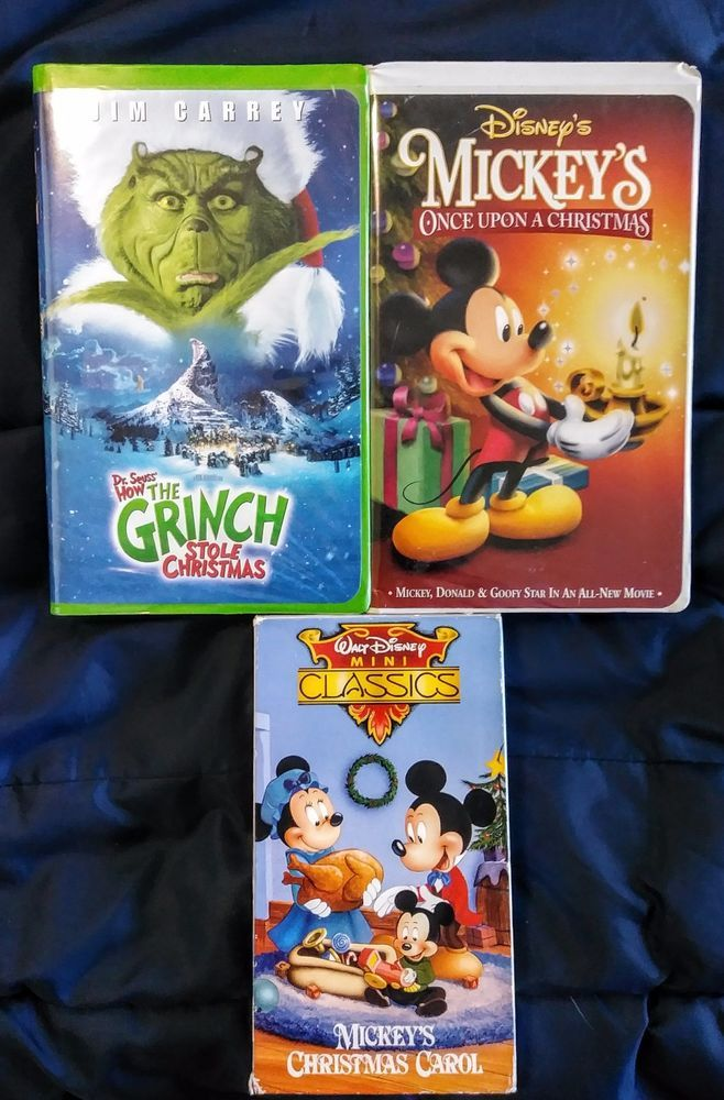 christmas vhs lot of 3 mickeys once upon a christmas how the grinch stole ch - Mickeys Once Upon A Christmas Vhs