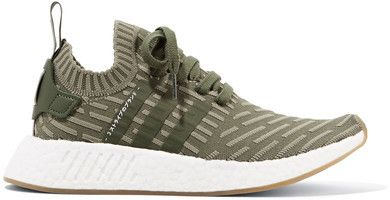 Nmd r2 Leather-trimmed Primeknit Sneakers - Army green adidas Originals E2dwunM