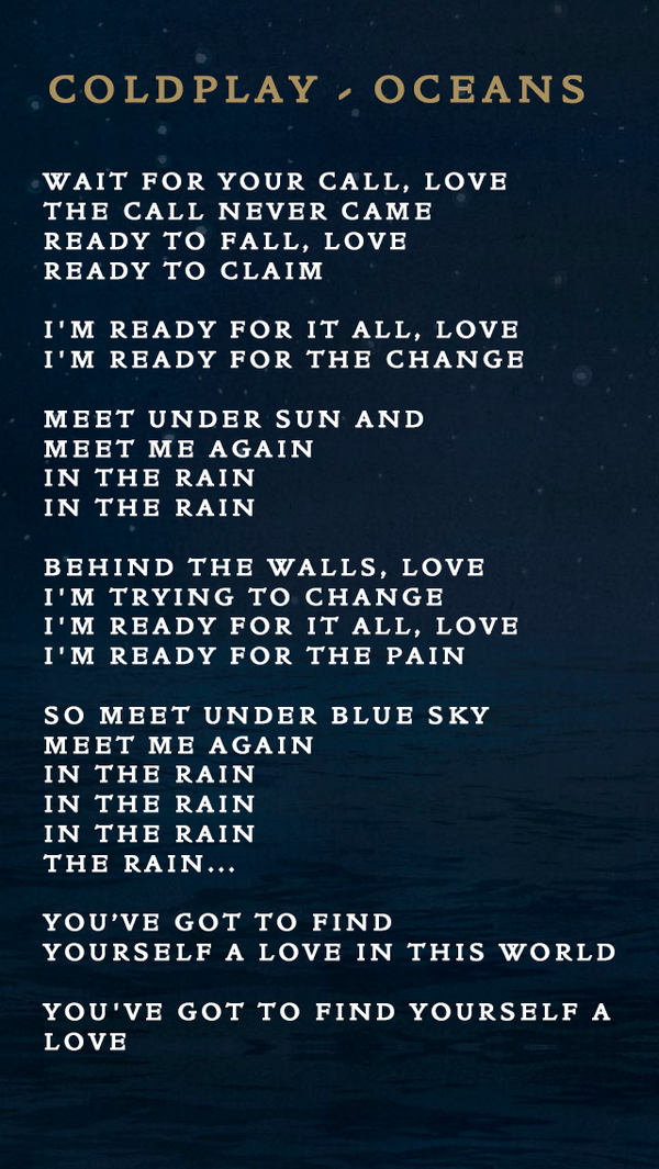 Sign In To Twitter Coldplay Lyrics Oceans Lyrics Song Quotes