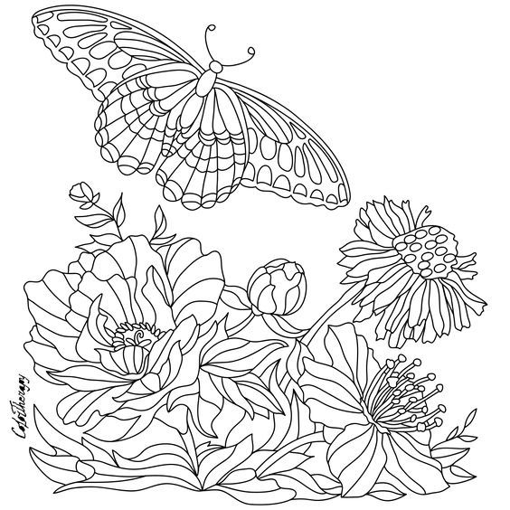 Flowers and butterflies   Coloring pgs   Pinterest   Butterfly ...