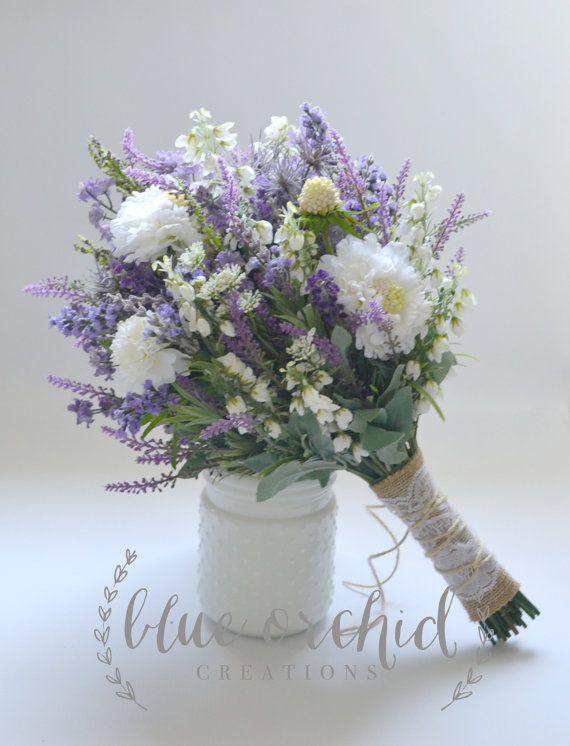 Wildflower Brautstrauß - rustikale Bouquet, Lavendel Wildblumenstrauß, Shabby Chic Bouquet, Brautstrauß, Boho Bouquet