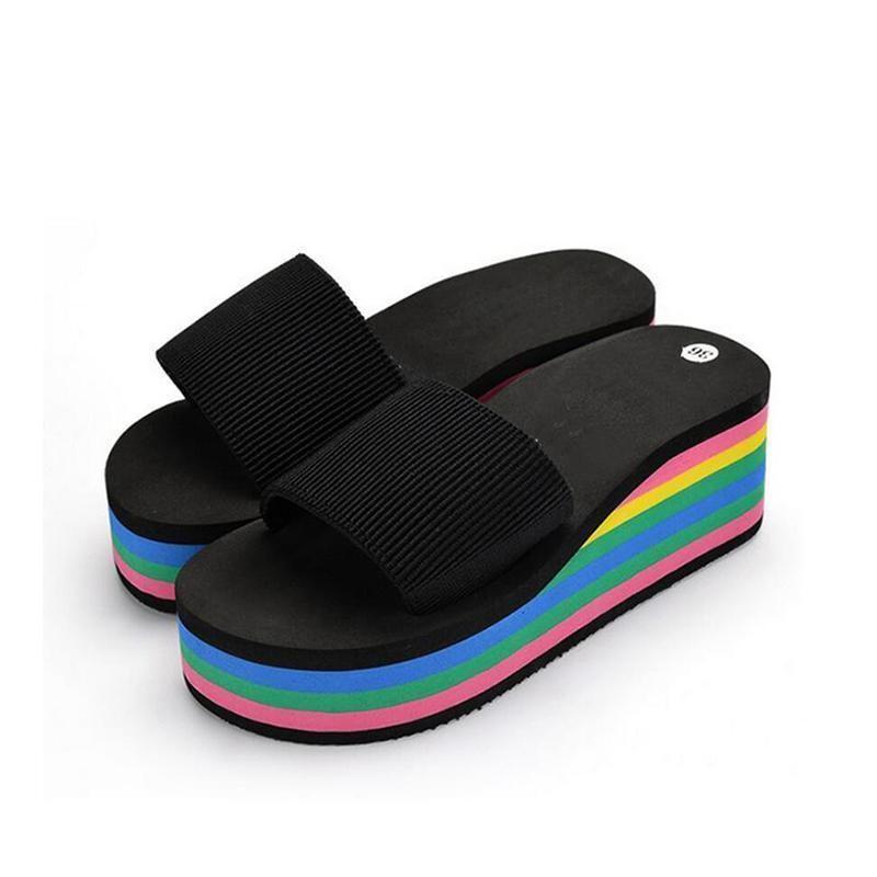 Women/'s Wedge Heel Rainbow Beach Sandal Flip Flops Slipper Platform Shoes Summer