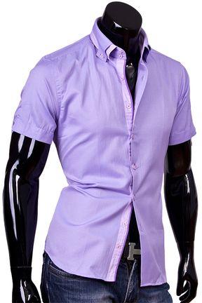 30411668a103438 Купить Мужская рубашка с коротким рукавом сиреневого цвета фото недорого в  Москве
