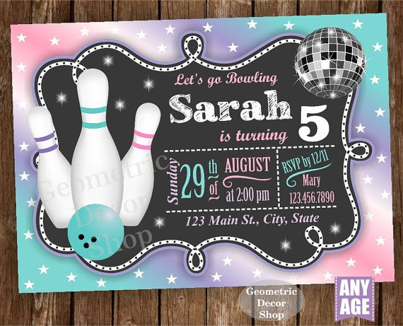 Bowling Party  Bowling Birthday Invitation  Bowling Invite