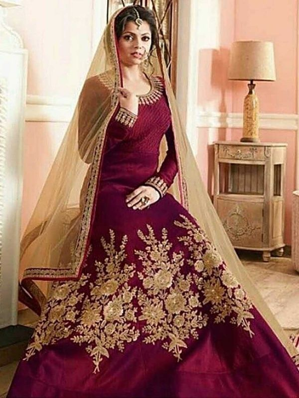 Fancy Poly Silk Zari Work Maroon Anarkali Suit With Color Satin Bottom Size Is 225