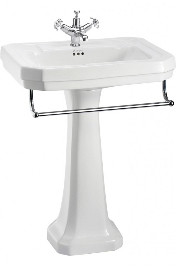 The Burlington Victorian Large Basin With Towel Rail Pedestal