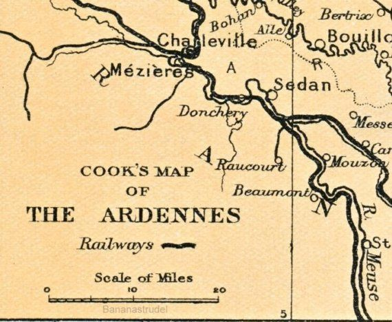1929 vintage map of the ardennes