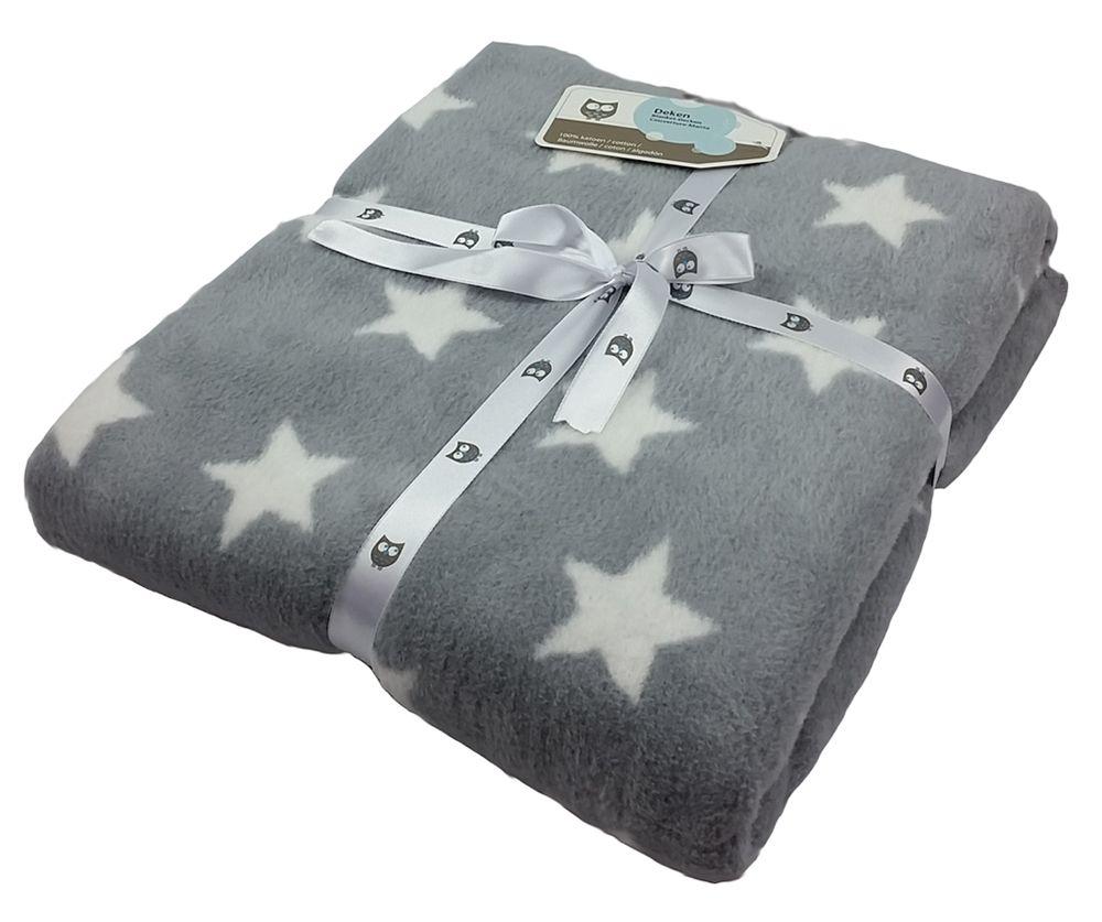 Briljant Baby Fleece Baumwoll-Babydecke Sterne grau/weiß - 75 x ...