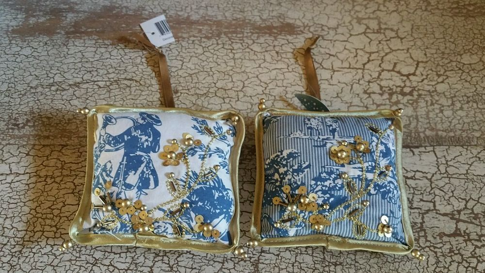 2 Blue White Toile Door Hangers Ornaments Gold Beads Ribbon Sequins | eBay