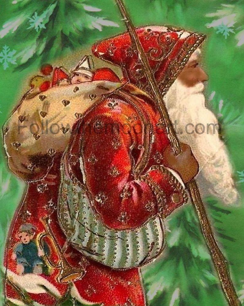 Christmas Vintage African American Santa Claus Holiday Wall Art Print Unframed Holiday Wall Art Wall Art Prints Vintage Christmas
