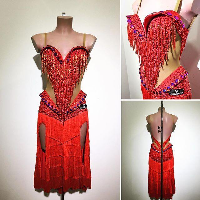 Red fringe latin dress