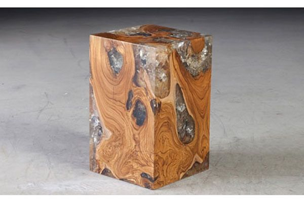 Teak and Resin End Table - Cliff Young Furniture