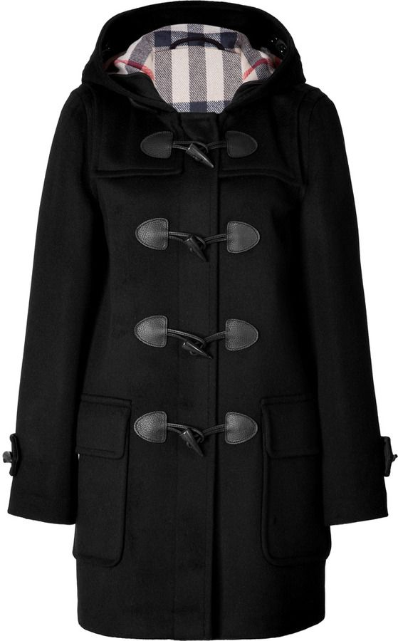 Brit Wool Minstead Duffle Coat In Black Check | Duffle coat ...
