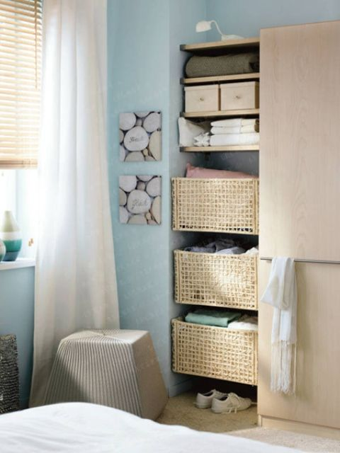 Storage And Organization , Great Storage Ideas For Small Bedrooms : Storage  Ideas For Small Bedrooms Corner Baskets And Open Shelving