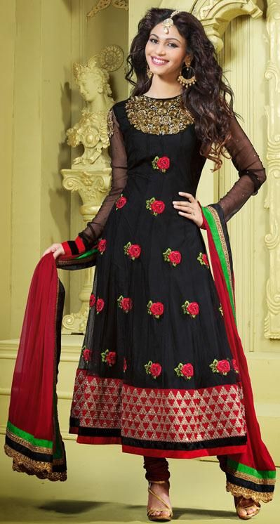 $84.61 Black Embroidery Net Full Sleeve Designer Anarkali Salwar ...