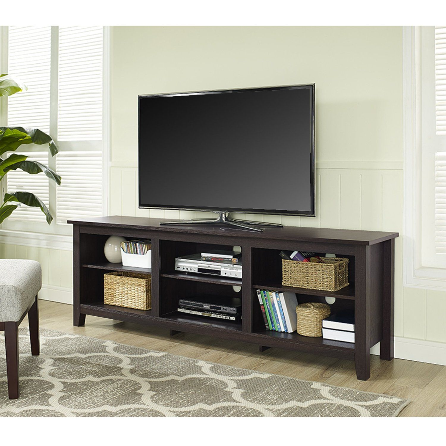 "Amazon WE Furniture 70"" Espresso Wood TV Stand Console Kitchen"