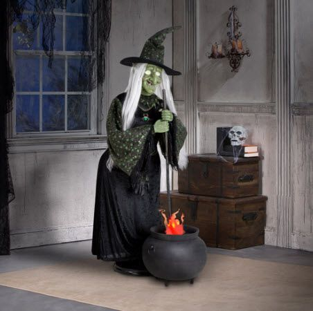 life size animated halloween witch with flaming cauldron - Halloween Decorations Witches