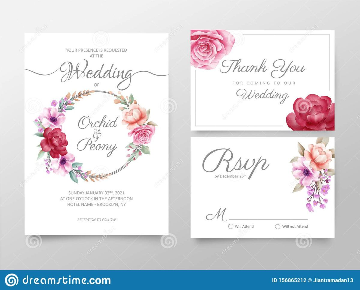 Stylish Watercolor Floral Wedding Invitation Cards Template With Regard To Free Pr Floral Wedding Invitation Card Floral Wedding Invitations Rsvp Wedding Cards