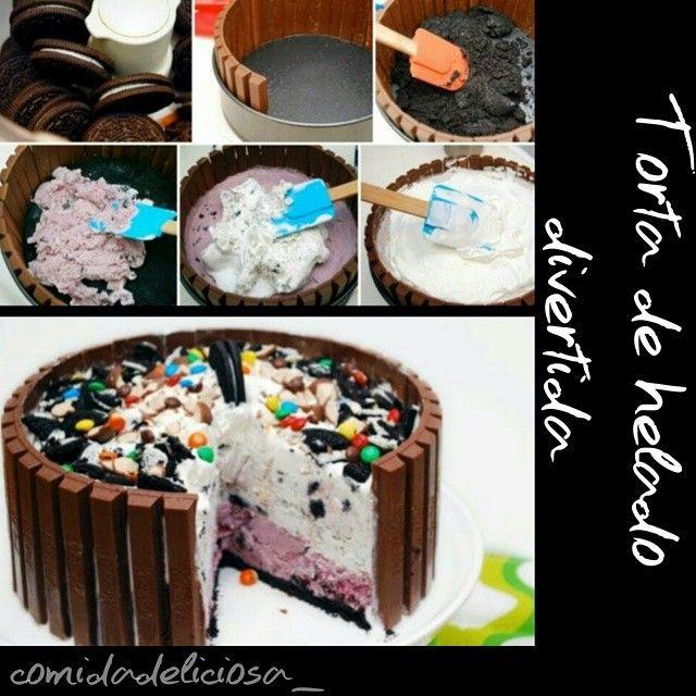 Idea para una torta de helado facilisima♡ 1) Tritura las galletas oreo. Con crema y todo ;) 2) Poner las galletas en la base donde vas a hacer la torta. Alrededor poner deditos de chocolate o barquillos para dar forma (Amarralos con cintas de colores para dar rigidez y decorar) 3) Rellenar con helado del sabor que quieras 4) Encima poner crema batida y decorar