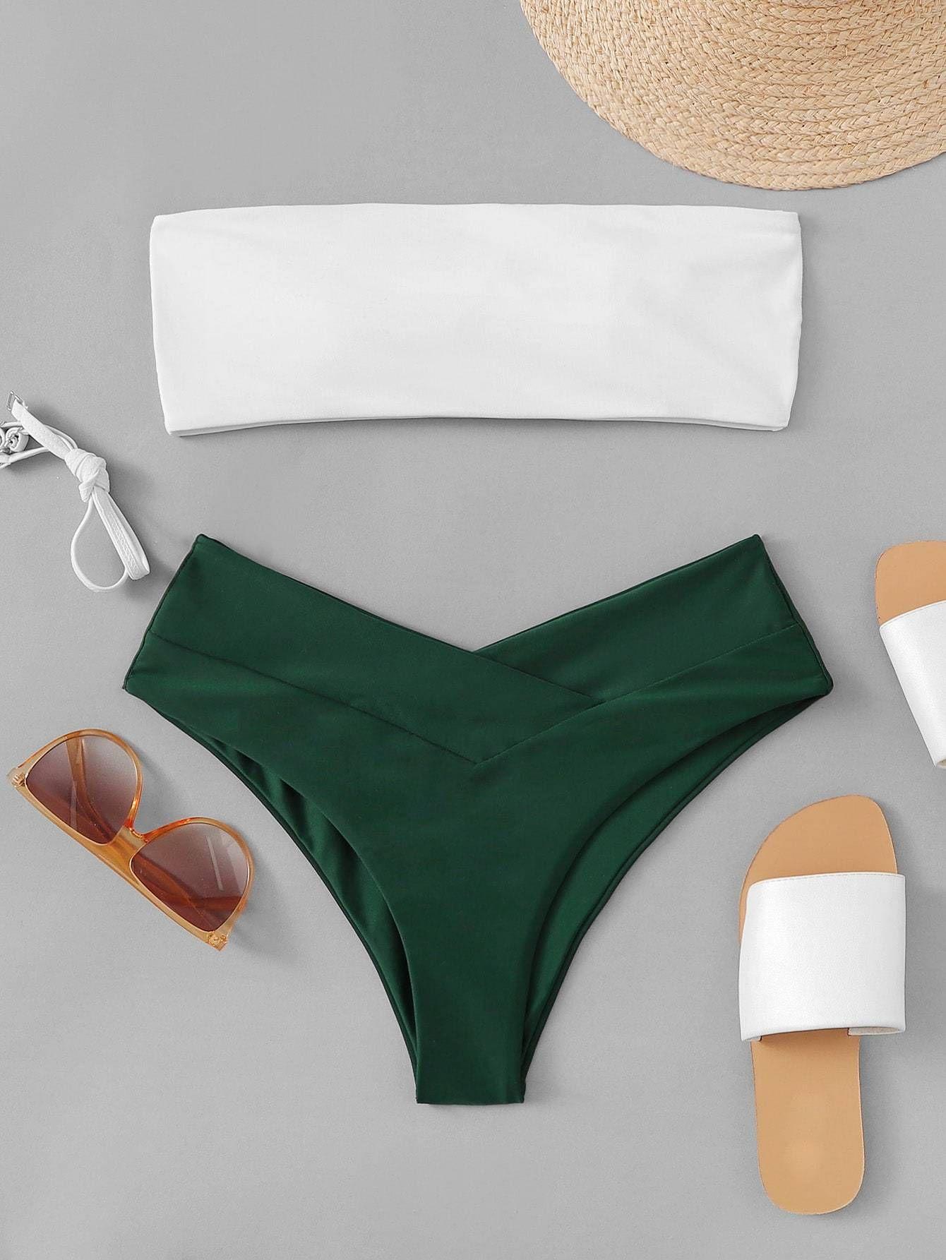 Two Tone Top With High Leg Bikini Set