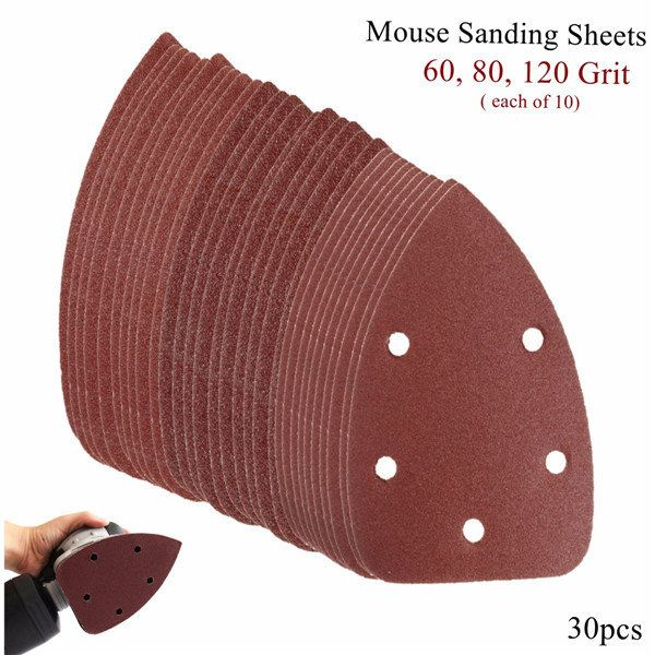 20 X DELTA SANDING SHEETS 60 GRIT HOOK /& LOOP 93mm  6 HOLE