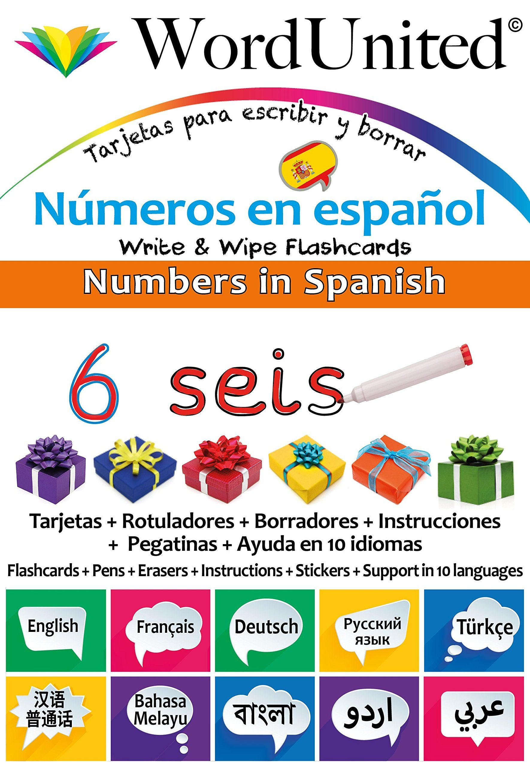 Numbers In Spanish Write Wipe Flashcards With Multilingual