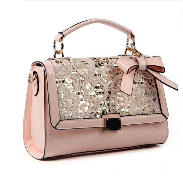 sweet pink cute lace bowknot paillette handbag bag