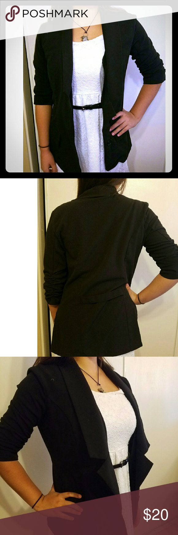 "Black Blazer Casual Black one button blazer with ruched elbow details. Very cute and light to be worn with various outfits. Model measurements 5'6"" 35-26-36 Jackets & Coats Blazers"