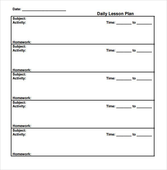FreePrintableSampleSimplelessonplantemplatejpeg - Daily lesson plan template doc