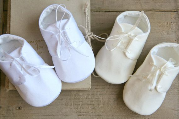 White or ivory satin baby shoes boy or