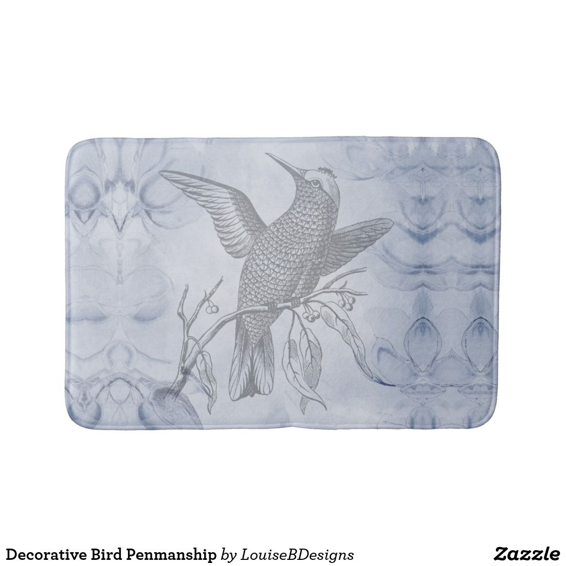 Decorative Bird Penmanship Bathroom Mat