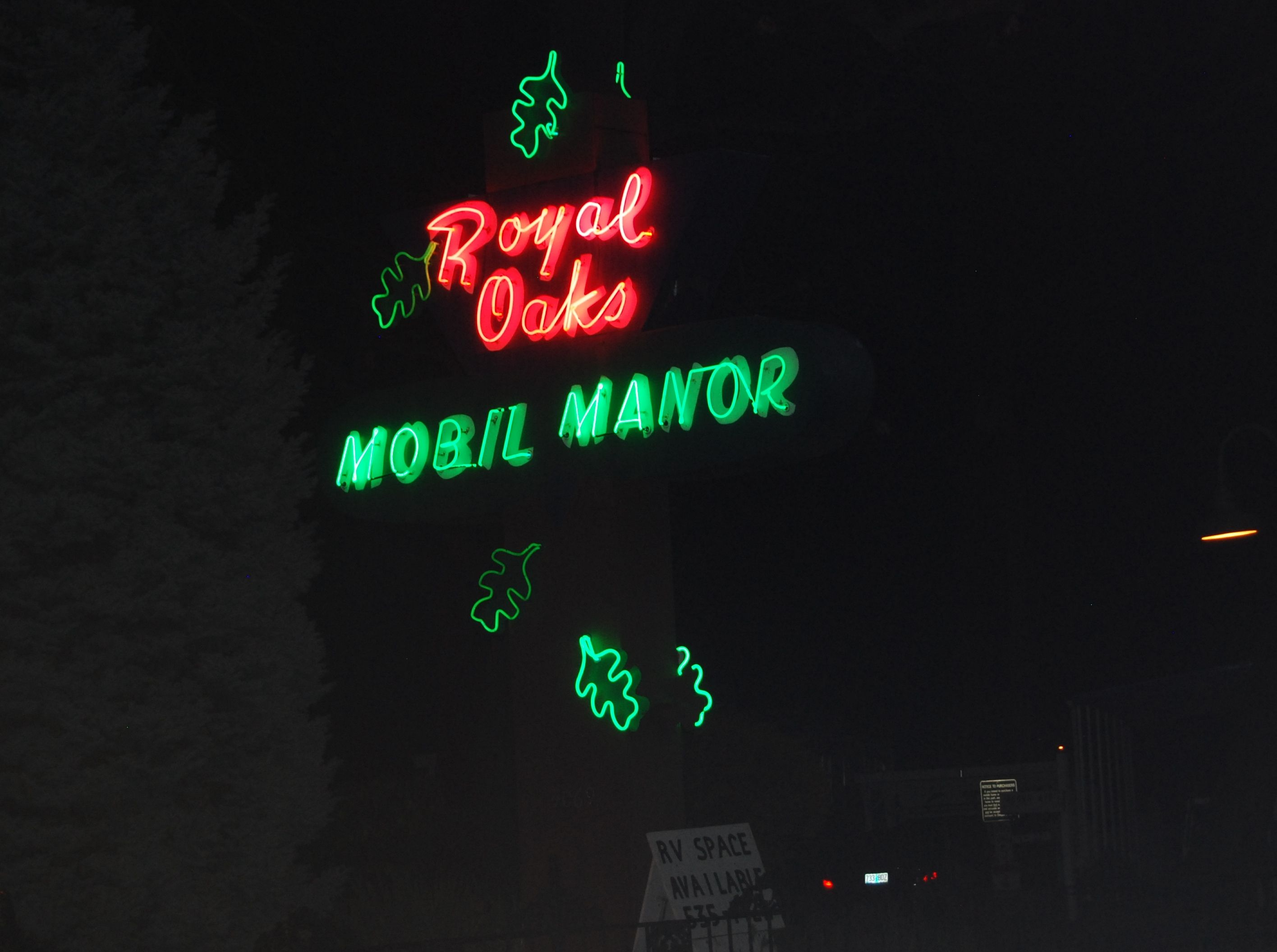 Oregon · southern · the royal oaks mobil manor is on highway 99 in phoenix this sign is as