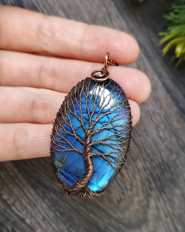 Blue Labradorite Pendant Tree Of Life Necklace 45th