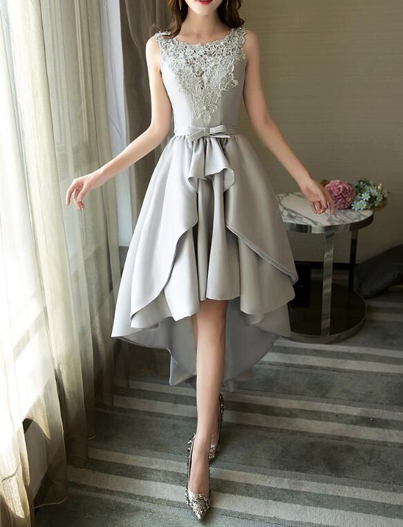 Grey Satin And Lace High Low Party Dress, Round Neckline Charming Formal Dress, Prom Dress 2019