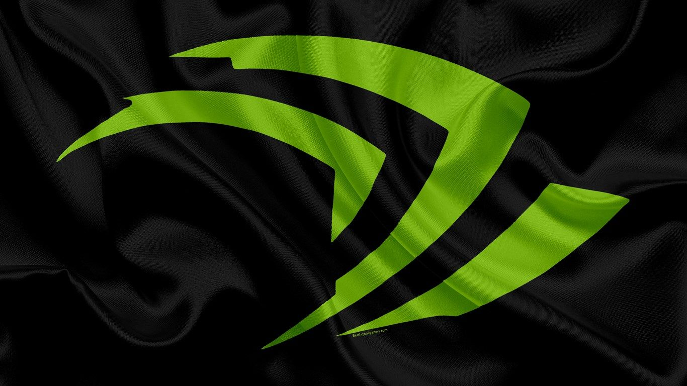 Nvidia 4k Logotipo Verde Nvidia Emblema Bandera De Seda