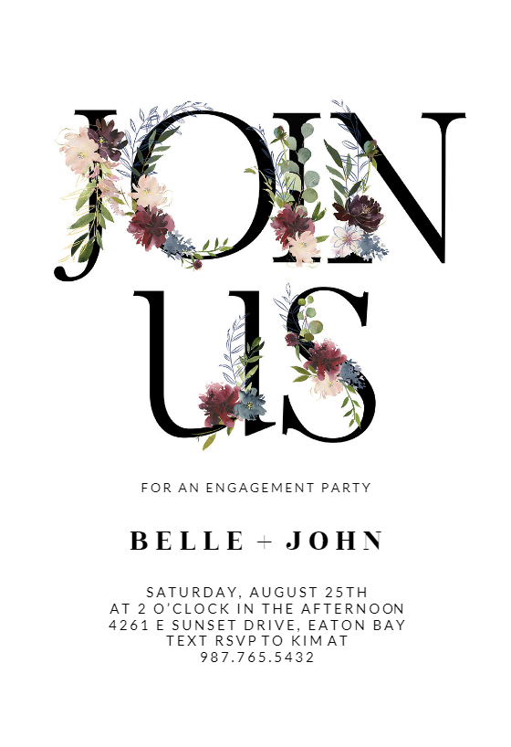 Floral Letters Engagement Party Invitation Template Free Greetings Island Party Invite Template Dinner Invitation Template Engagement Party Invitations