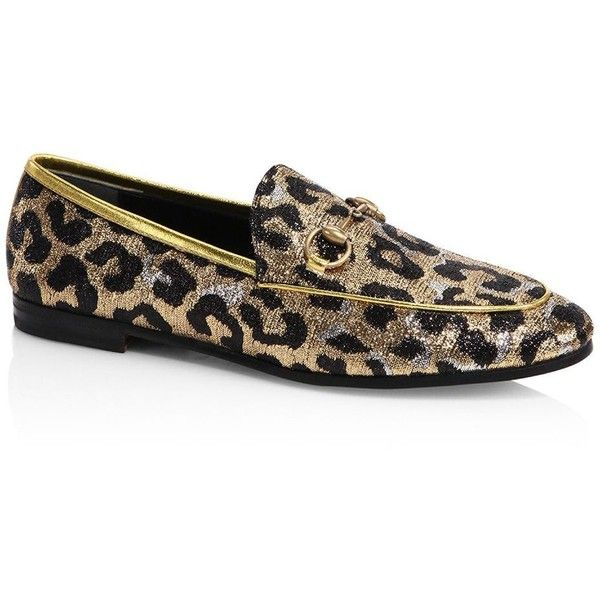 02ee23cfd00 Gucci New Jordaan Leopard Lurex Jacquard Loafers ( 695) ❤ liked on Polyvore  featuring shoes