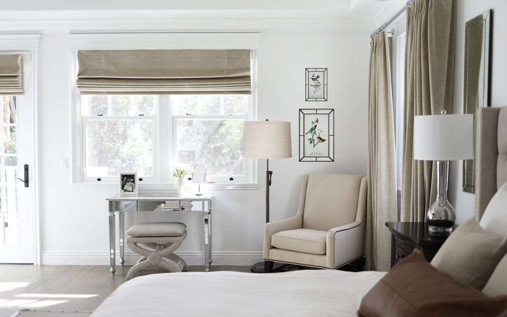 The Shade Store Drapes And Roman Shades Feminine Masculine Master Bedroom Suite Sloane Stud Beautiful Bedrooms Studio Interior Masculine Master Bedroom