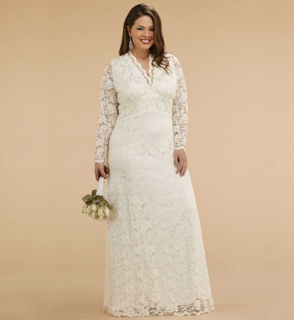 plus size wedding gowns | Plus Size Lace Jacket Wedding Dress for ...