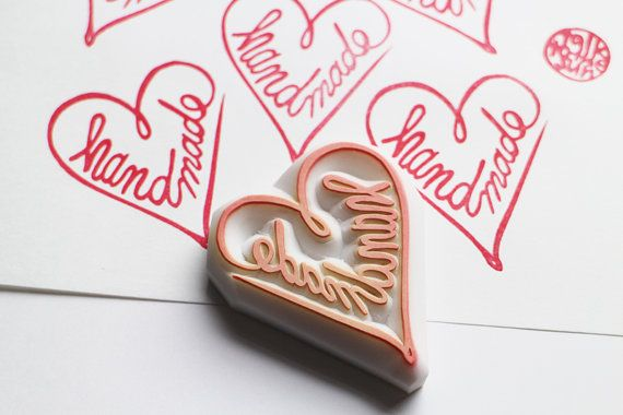 handmade love heart hand carved rubber stamp. i love handmade. made from my hand writing to shape a love heart . each rubber stamp is originally designed and carved by talktothesun.  SIZE: about 5cmX3cm (2inX1.2in)  ABOUT RUBBER STAMPS: • thick soft rubber block • block color may vary • not mounted on handles or backings • backings or handles - optional with extra cost • materials for additional handle/backing www.etsy.com/listing/116487845/  DIY/CRAFT IDEAS: • christ...