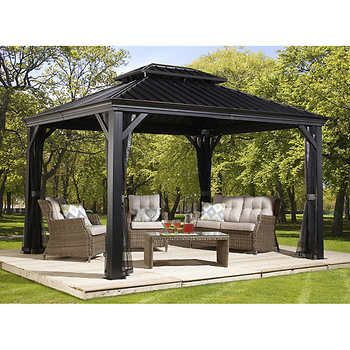Sojag Messina Galvanized Steel Roof Sun Shelter All Things Are Possible Patio Gazebo Gazebo Rustic Pergola