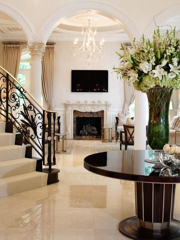Daz D Dream Home Foyer And Living Room : Elegant black and white entryway website foyers hgtv