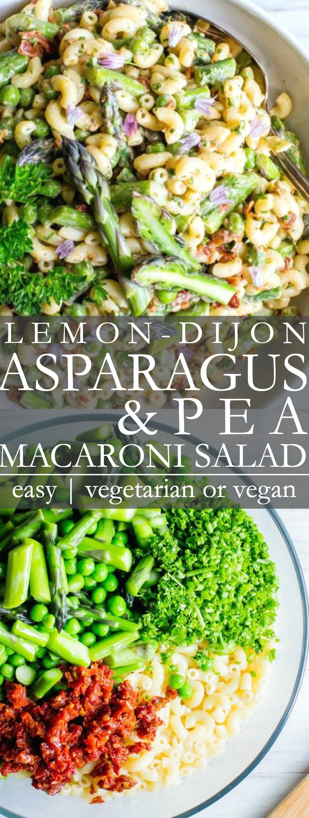 Lemon Dijon Asparagus and Pea Macaroni Salad