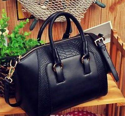 Black PU Leather Cross Body Handbag Tote