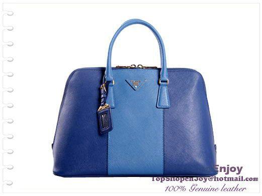 2013 PRADA BL0812 Saffiano Leather 38CM Two Handle Bag RoyalBlue -  256.00    handbags-show.com f9115097712cb