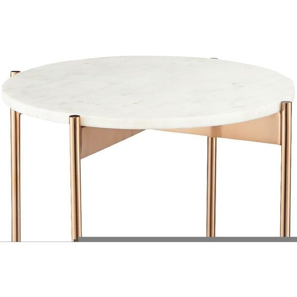 CB2 Marble-Rose Gold Small Pedestal Table ($179) ❤ liked on Polyvore featuring home, furniture, tables, cb2 furniture, marble furniture, marble pedestal table, cb2 and lacquer table